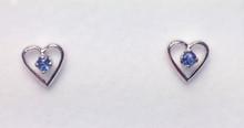 Montana Yogo Sapphire Heart Earrings Sterling Silver