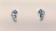 Montana Yogo  Sapphire & Diamond Vine Earrings 14K White Gold