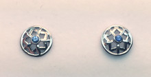 Montana Yogo Sapphire Star in Circle Earrings 14K White Gold