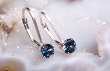 Montana sapphire leverback earrings 4mm