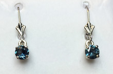 Montana sapphire Dangle Leverback 5mm earrings 14K white gold