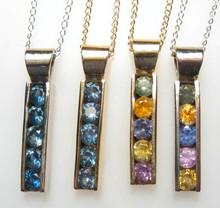 Montana Sapphire 5 stone channel set bar pendant