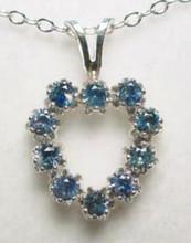 Montana Sapphire 2.25mm 10 stone heart pendant blue