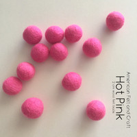 Hot Pink- Wool felt ball 2cm
