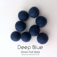 Deep Blue  - Wool Felt Balls 2 cm