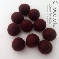 Chocolate - Wool Felt Balls 2 cm