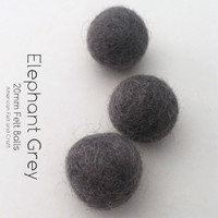 Elephant Grey - Wool Felt Balls 2 cm