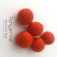 Tangerine  - Wool Felt Balls 2 cm