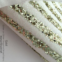 Glitter on Glitter Diagonal Stripe Fabric - Gold