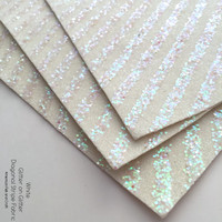 Glitter on Glitter Diagonal Stripe Fabric - White