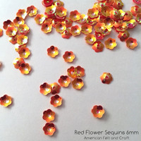 Red Flower  - 6mm Cupped Sequins