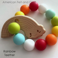Rainbow Wood Teething Pendant