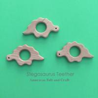 Stegosaurus Dinosaur  Wood Teething Pendant