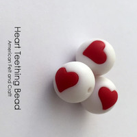 Heart Symbol Silicone Teething Beads