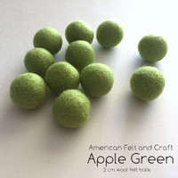 Green Apple-  Wool Felt Ball 2 cm