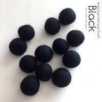 Black 2cm wool felt ball