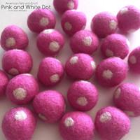 Pink Polka  Wool Felt Ball  -2cm