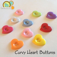 Curvy Heart Buttons - Discountinued