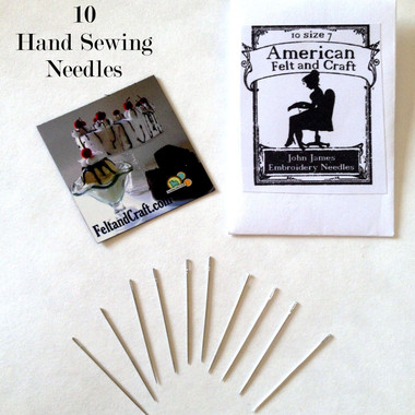 10 hand sewing needles, magnet and needle envelope