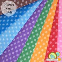 Flower Doodle Polyester Felt _CLEARANCE