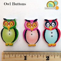 Owl Buttons - 3 pack