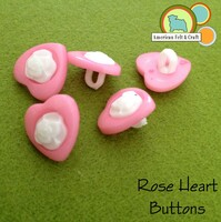 Rose Heart Buttons