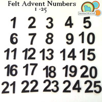Felt Advent Calendar Number Stickers 1-25