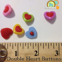 Double Heart Buttons - 6 count