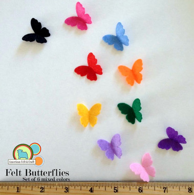 10 colors shown - Each package contains 6 butterflies in total.