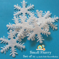 Small Flurry- small felt snowflake- 10 piece