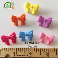 Pleated Bow Buttons - 6 count Assorted