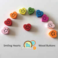 Smiling Wood Heart Buttons- 10