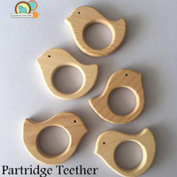 Partridge Bird Organic Wood Teething Pendant