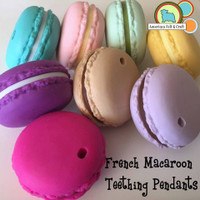 French Macaroon Silicone Teething Pendant