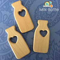 Wood Milk Bottle Teething Pendant