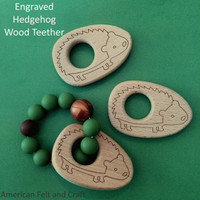 Engraved hedgehog birchwood teether