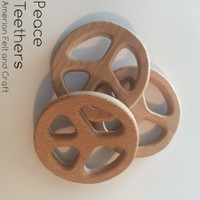 Peace symbol all natural birchwood teether