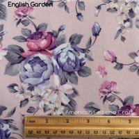 English garden  floral  print felt -NEW-