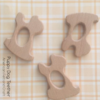 Puppy Dog  Wood Teething Pendant