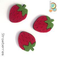 Strawberries fruit felt shapes