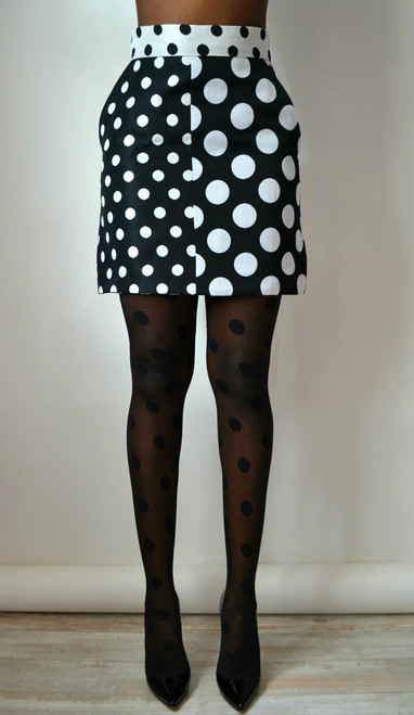 Daniela Tabois Two Tone Polka Dot Mini Skirt