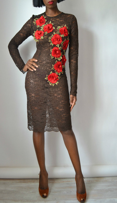 Lace Rose Sheath Dress