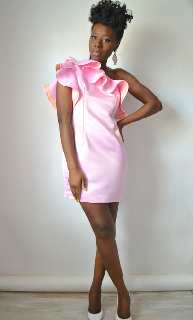 One Shoulder Satin Ruffle Dress (Front)