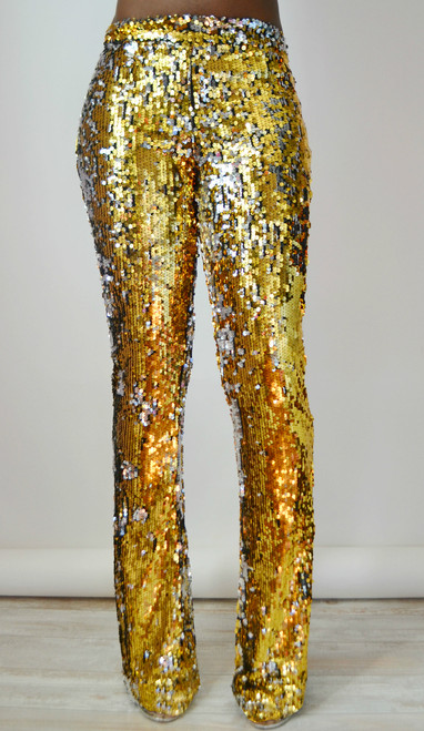 Gold Stretch Sequin Flare Pants Front