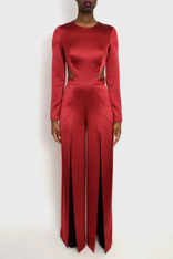 Gretchen High Slit Backless Jumpsuit Front