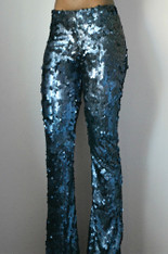 Stretch Navy Matte Sequin Flare Pants