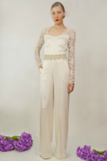 Juliet Silk Wedding Jumpsuit (Front)