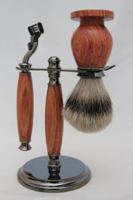 Brush, Razor & Stand African Rosewood a