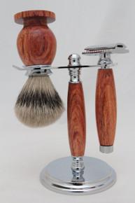 Brush, Razor & Stand African Rosewood b