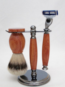 Brush, Razor & Stand African Rosewood c